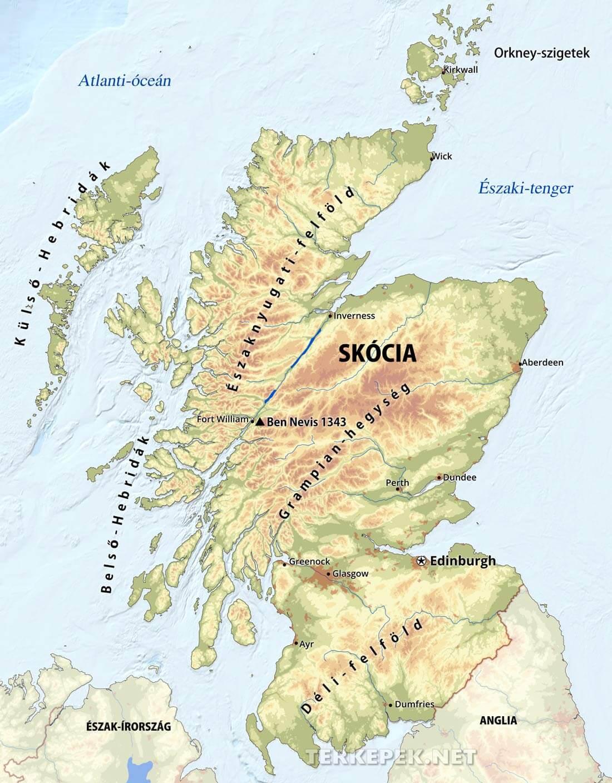 anglia domborzati térkép Skócia domborzati térképe anglia domborzati térkép